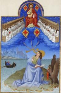 Johannes ontvangt de Openbaring van Christus op Patmos.